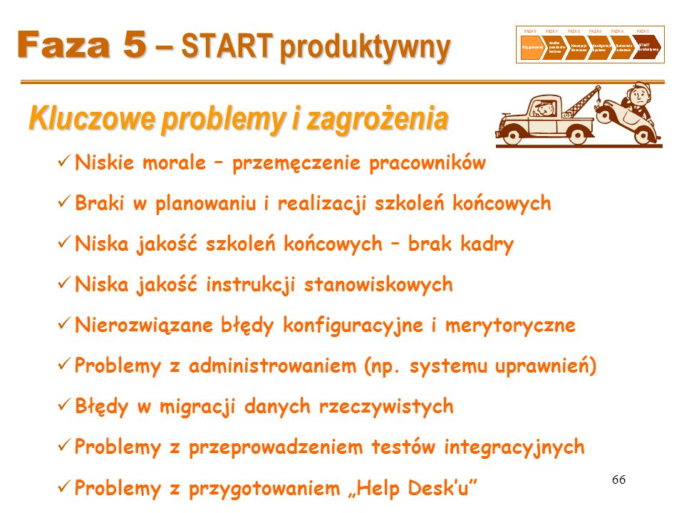 66 Faza 5 – START produktywny Kluczowe problemy i zagrożenia Niskie morale – przemęczenie pracowników Braki w planowaniu i realizacji szkoleń końcowyc