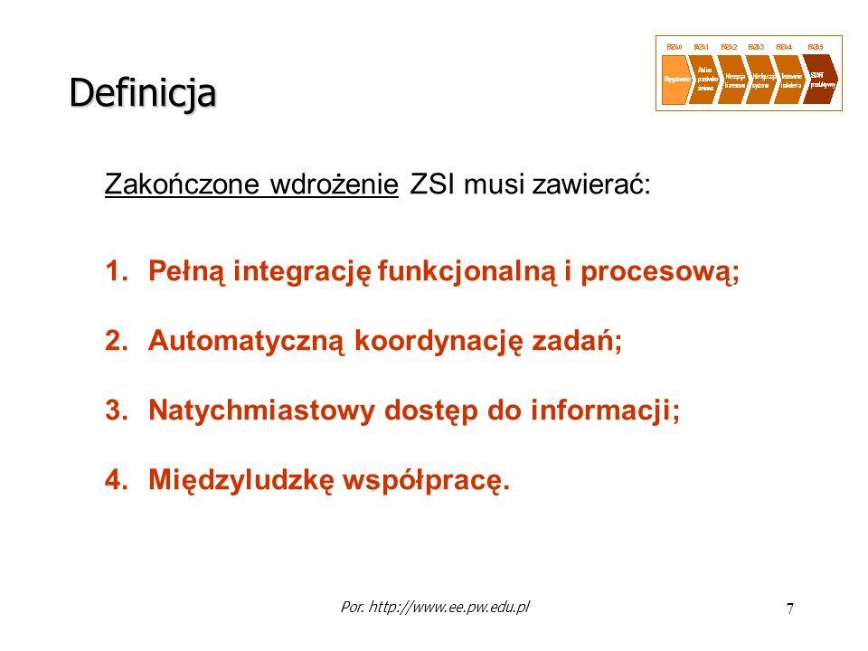 7 Zakończone wdrożenie ZSI musi zawierać: 1.Pełną integrację funkcjonalną i procesową; 2.Automatyczną koordynację zadań; 3.Natychmiastowy dostęp do in