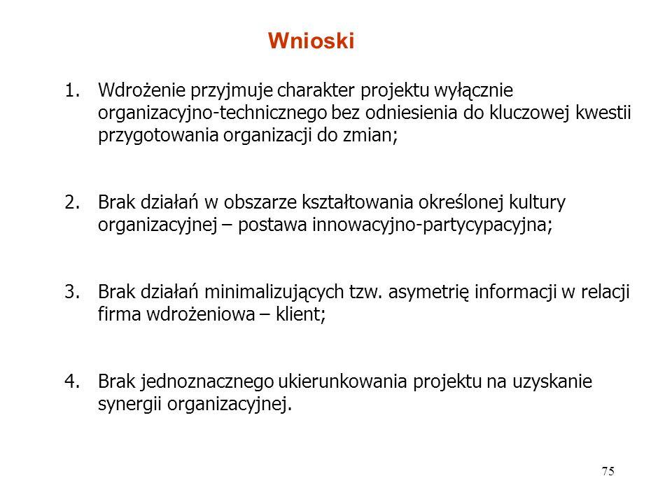 75 Wnioski 1.Wdrożenie przyjmuje charakter projektu wyłącznie organizacyjno-technicznego bez odniesienia do kluczowej kwestii przygotowania organizacj