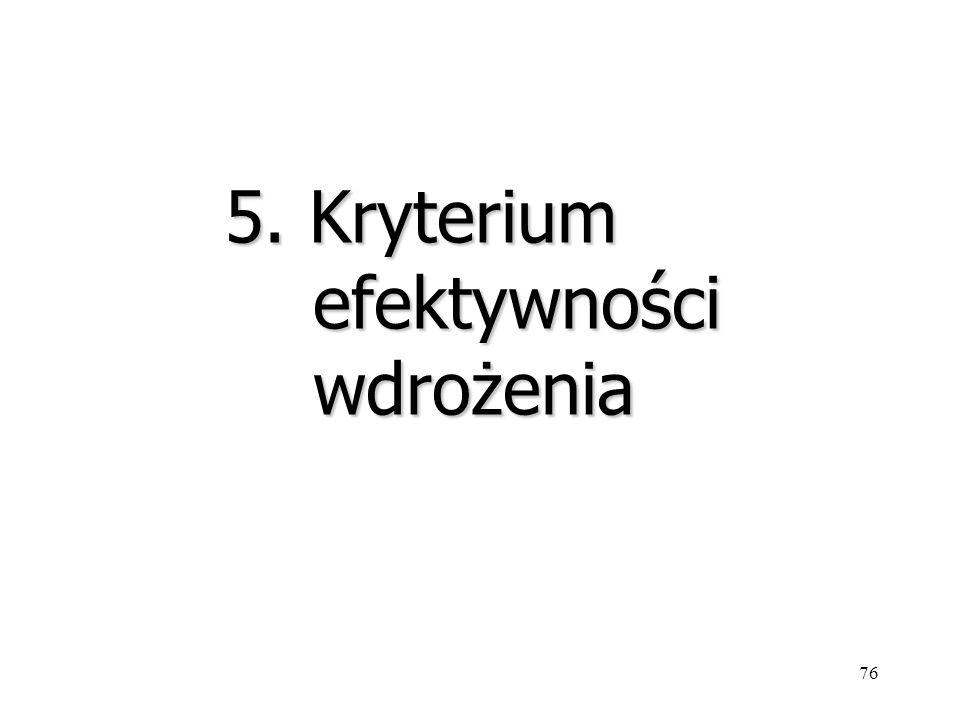 76 5. Kryterium efektywności wdrożenia