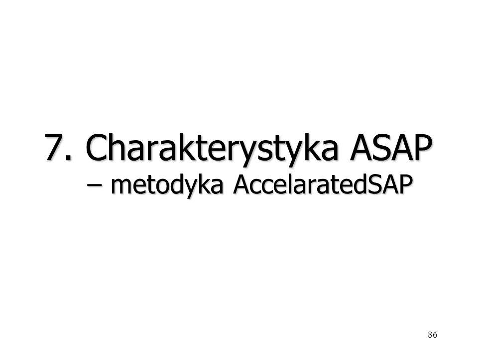 86 7. Charakterystyka ASAP – metodyka AccelaratedSAP