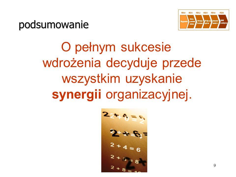 9 O pełnym sukcesie wdrożenia decyduje przede wszystkim uzyskanie synergii organizacyjnej. podsumowanie