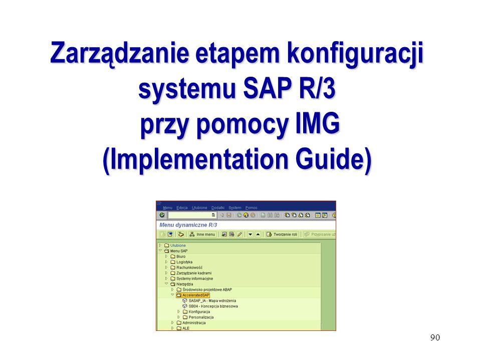 90 Zarządzanie etapem konfiguracji systemu SAP R/3 przy pomocy IMG przy pomocy IMG (Implementation Guide)