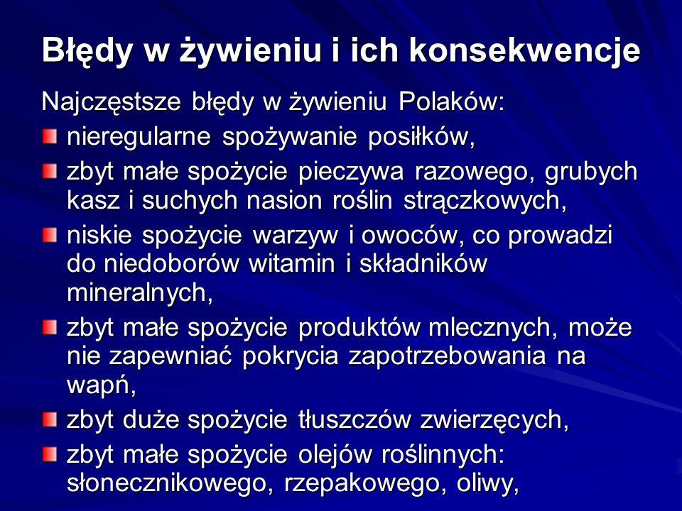 Błędy w żywieniu i ich konsekwencje Najczęstsze błędy w żywieniu Polaków: nieregularne spożywanie posiłków, zbyt małe spożycie pieczywa razowego, grubych kasz i suchych nasion roślin strączkowych, niskie spożycie warzyw i owoców, co prowadzi do niedoborów witamin i składników mineralnych, zbyt małe spożycie produktów mlecznych, może nie zapewniać pokrycia zapotrzebowania na wapń, zbyt duże spożycie tłuszczów zwierzęcych, zbyt małe spożycie olejów roślinnych: słonecznikowego, rzepakowego, oliwy,