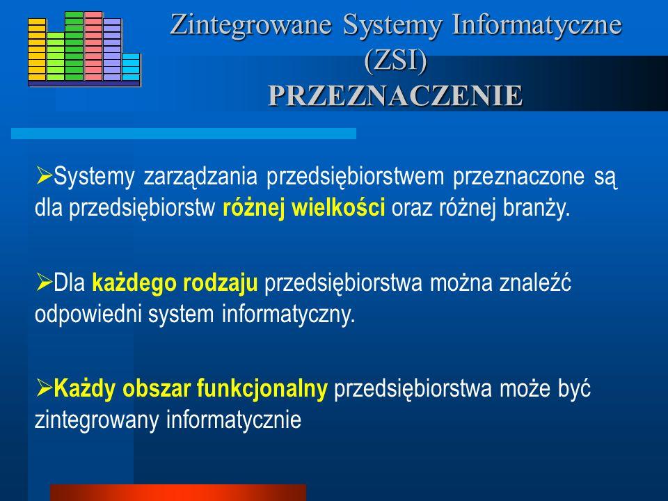 Zintegrowane Systemy Informatyczne (ZSI) PRZEZNACZENIE Systemy zarządzania przedsiębiorstwem przeznaczone są dla przedsiębiorstw różnej wielkości oraz różnej branży.