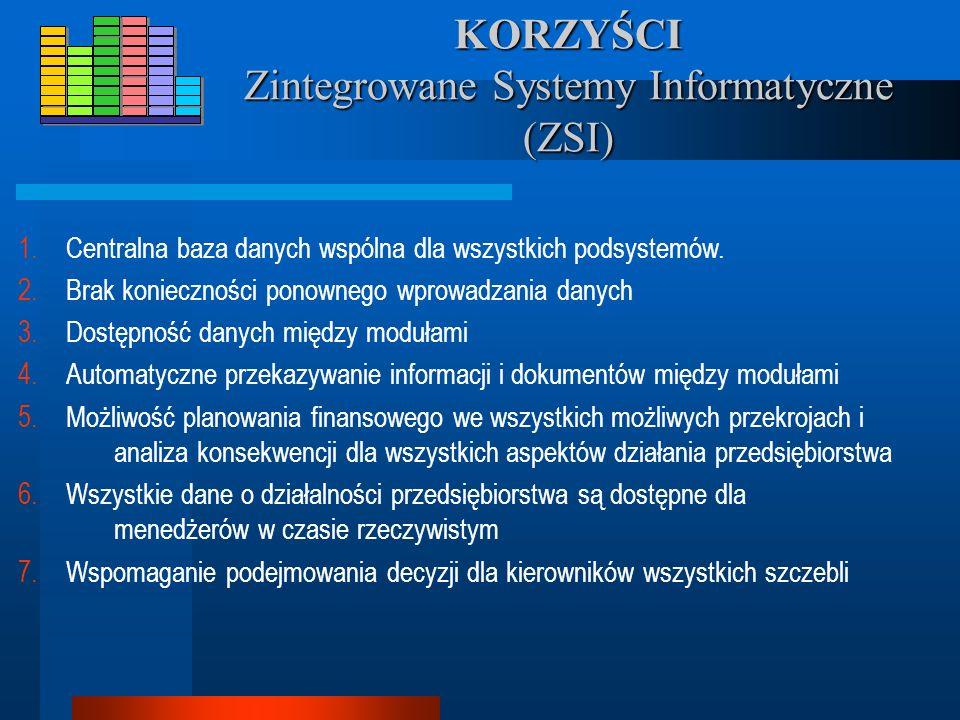 KORZYŚCI Zintegrowane Systemy Informatyczne (ZSI) 1.Centralna baza danych wspólna dla wszystkich podsystemów.