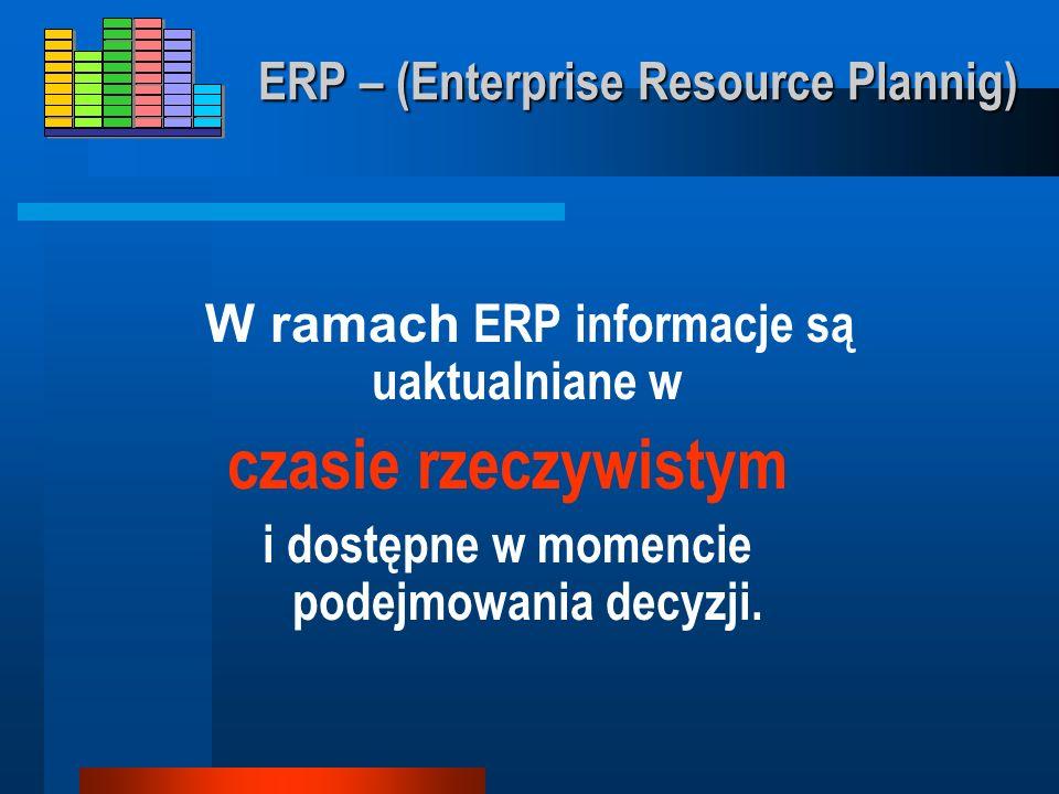 ERP ERP jest systemem obejmującym całość procesów produkcji i dystrybucji, który integruje różne obszary działania przedsiębiorstwa, usprawnia przepły