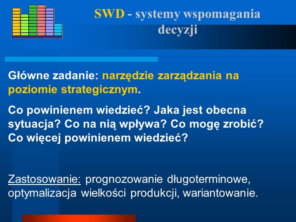 SID - systemy informacyjno- decyzyjne Główne zadanie: poprawa sprawności zarządzania na poziomie operacyjno-taktycznym. Wspomaga kontrolę sterowanie i
