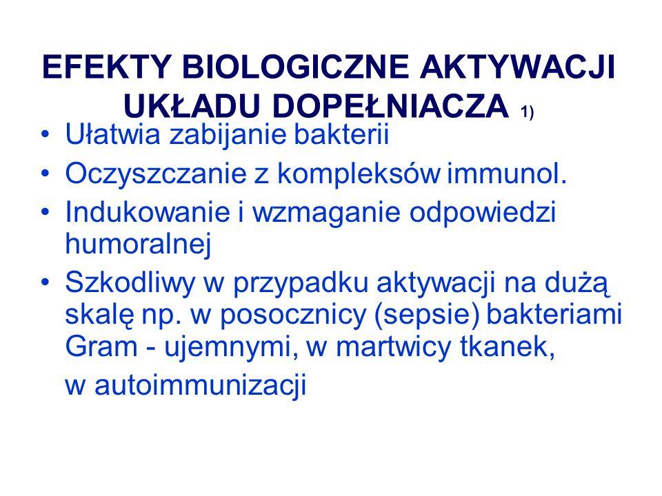 EFEKTY BIOLOGICZNE AKTYWACJI UKŁADU DOPEŁNIACZA 2) Chemotaksja (wędrówka komórek do miejsc infekcji) Opsonizacja (ułatwianie fagocytozy) Wzrost przepływu krwi Zwiększona przepuszczalność naczyń Niszczenie błony komórkowej Uwalnianie mediatorów zapalnych z komórek tucznych