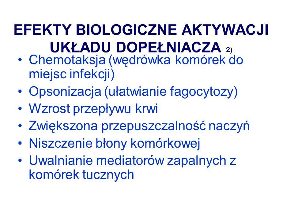 MECHANIZMY ODPORNOŚCI WRODZONEJ – AKTYWATORY NEUTROFILI Uwalniane z bakterii N-formylowane peptydy(FMLP) Składowe dopełniacza (iC3b) Leukotrieny (produkty metabolizmu kwasu arachidonowego) Cytokiny (TNF,IL-1, IL-8, GM-CSF)