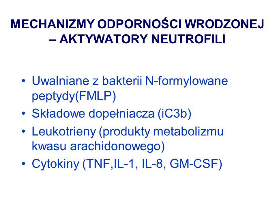 INNE BIAŁKA ODPORNOŚCI WRODZONEJ Kolektyny: białka wiążące węglowodany - lektyna wiążąca mannozę (MBL), konglutyniny Białka surfaktanta w pęcherzykach płucnych Cekropiny, magaininy, defenzyny (antybiotyki peptydowe komórek) – pow.