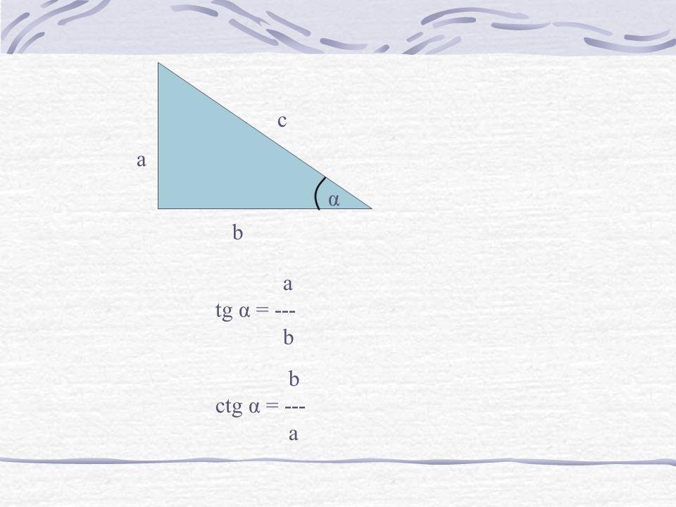 a b c α a tg α = --- b ctg α = --- a