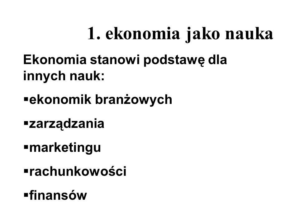 1. ekonomia jako nauka Ekonomia stanowi podstawę dla innych nauk: ekonomik branżowych zarządzania marketingu rachunkowości finansów