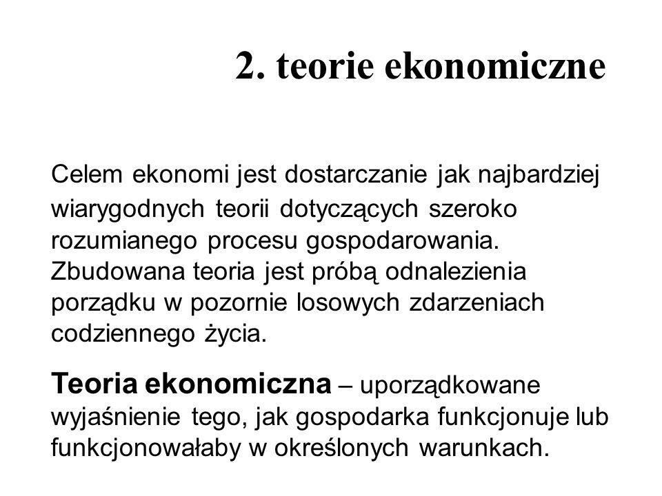2. teorie ekonomiczne Celem ekonomi jest dostarczanie jak najbardziej wiarygodnych teorii dotyczących szeroko rozumianego procesu gospodarowania. Zbud