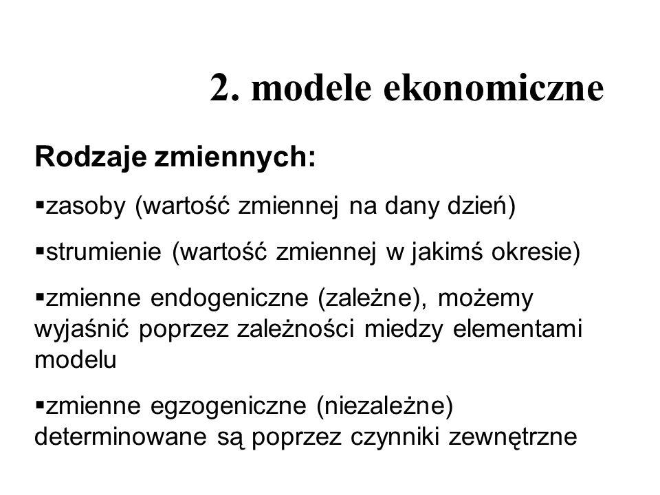2. modele ekonomiczne Rodzaje zmiennych: zasoby (wartość zmiennej na dany dzień) strumienie (wartość zmiennej w jakimś okresie) zmienne endogeniczne (