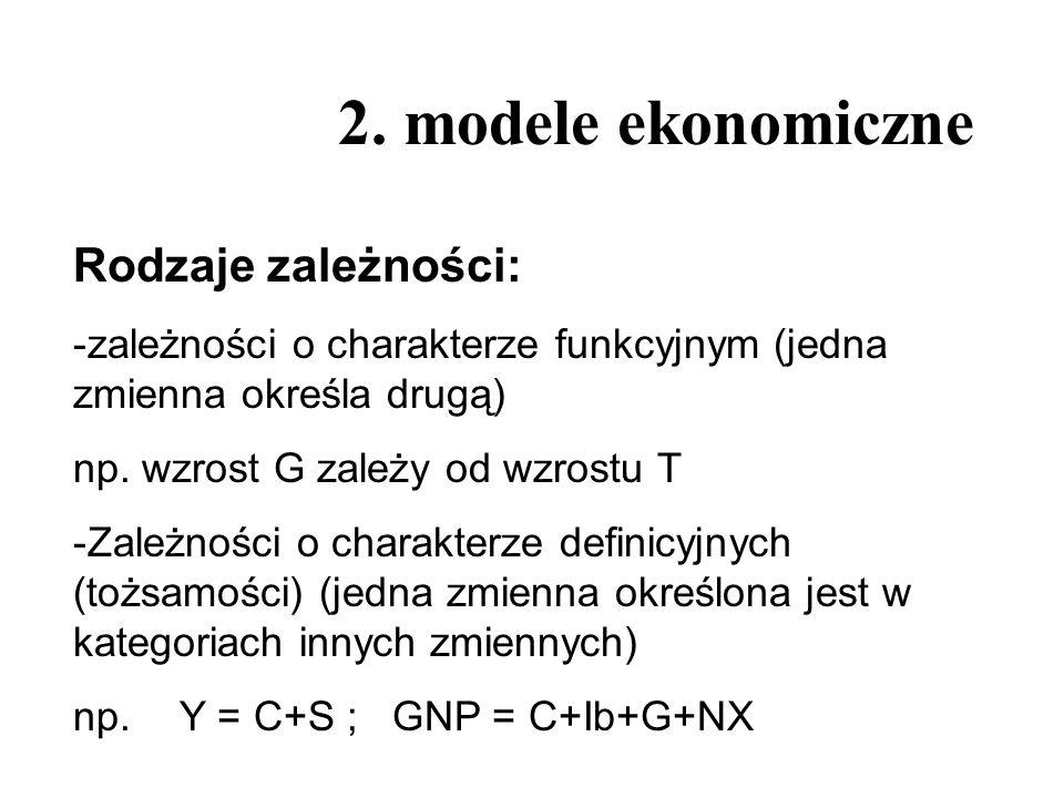 2. modele ekonomiczne Rodzaje zależności: -zależności o charakterze funkcyjnym (jedna zmienna określa drugą) np. wzrost G zależy od wzrostu T -Zależno