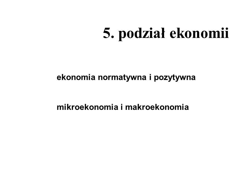 5. podział ekonomii ekonomia normatywna i pozytywna mikroekonomia i makroekonomia