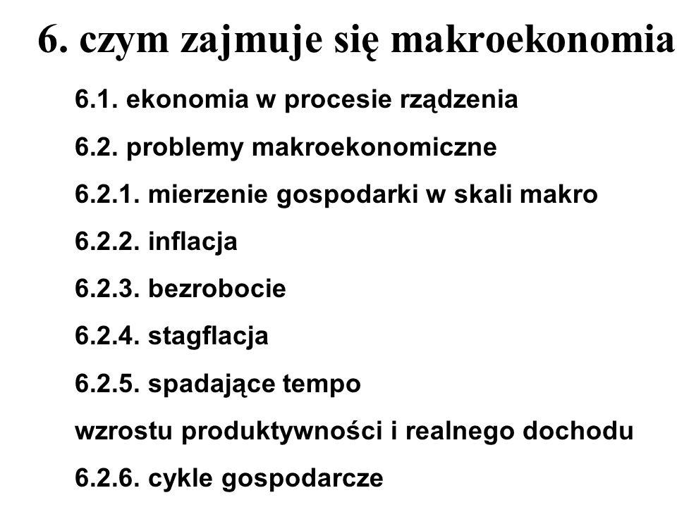 6. czym zajmuje się makroekonomia 6.1. ekonomia w procesie rządzenia 6.2. problemy makroekonomiczne 6.2.1. mierzenie gospodarki w skali makro 6.2.2. i