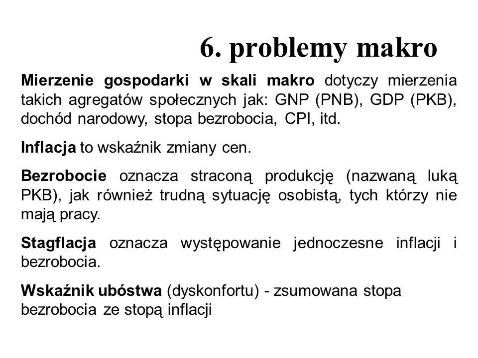 6. problemy makro Mierzenie gospodarki w skali makro dotyczy mierzenia takich agregatów społecznych jak: GNP (PNB), GDP (PKB), dochód narodowy, stopa