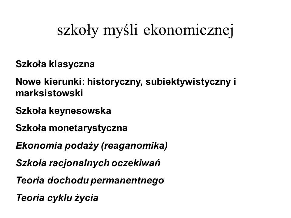 szkoły myśli ekonomicznej Szkoła klasyczna Nowe kierunki: historyczny, subiektywistyczny i marksistowski Szkoła keynesowska Szkoła monetarystyczna Eko