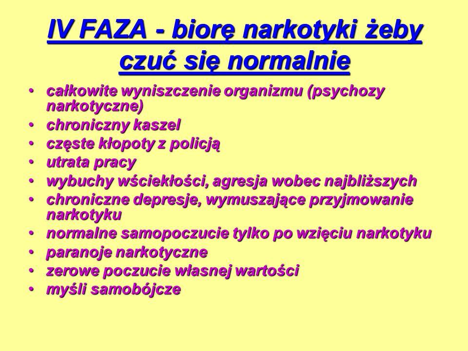 IV FAZA - biorę narkotyki żeby czuć się normalnie całkowite wyniszczenie organizmu (psychozy narkotyczne)całkowite wyniszczenie organizmu (psychozy na