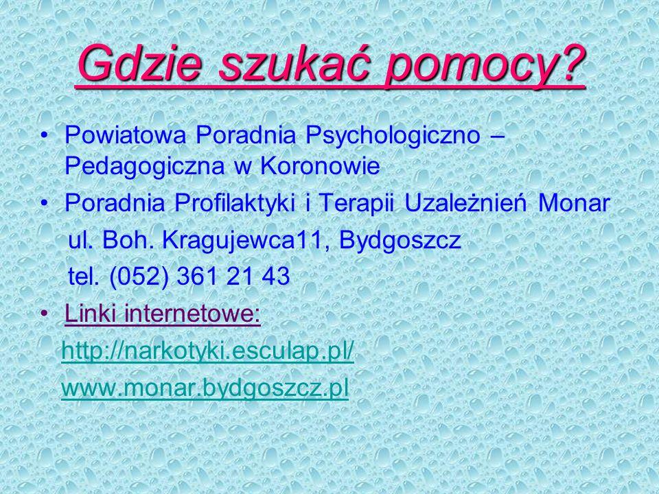 Gdzie szukać pomocy? Powiatowa Poradnia Psychologiczno – Pedagogiczna w Koronowie Poradnia Profilaktyki i Terapii Uzależnień Monar ul. Boh. Kragujewca