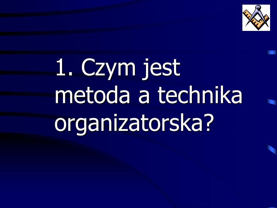 agenda: 1.Czym jest metoda a technika organizatorska? 2.Przegląd klasycznych technik organizatorskich zarządzania 3.Metody i techniki zarządzania zint