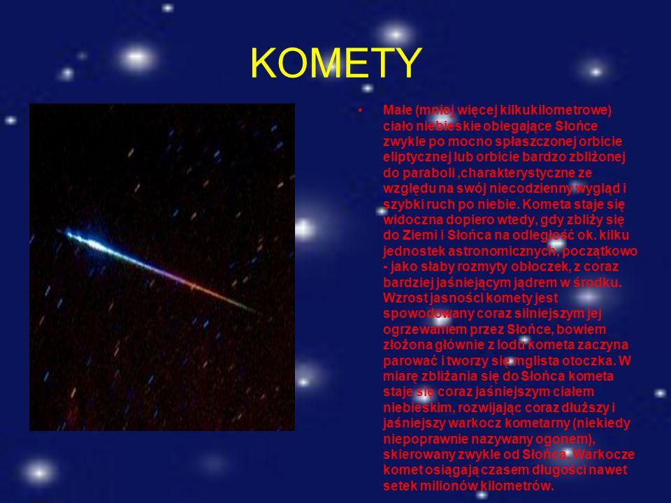 KOMETY Małe (mniej więcej kilkukilometrowe) ciało niebieskie obiegające Słońce zwykle po mocno spłaszczonej orbicie eliptycznej lub orbicie bardzo zbl
