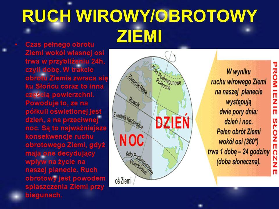 RUCH WIROWY/OBROTOWY ZIEMI Czas pełnego obrotu Ziemi wokół własnej osi trwa w przybliżeniu 24h, czyli dobę. W trakcie obrotu Ziemia zwraca się ku Słoń