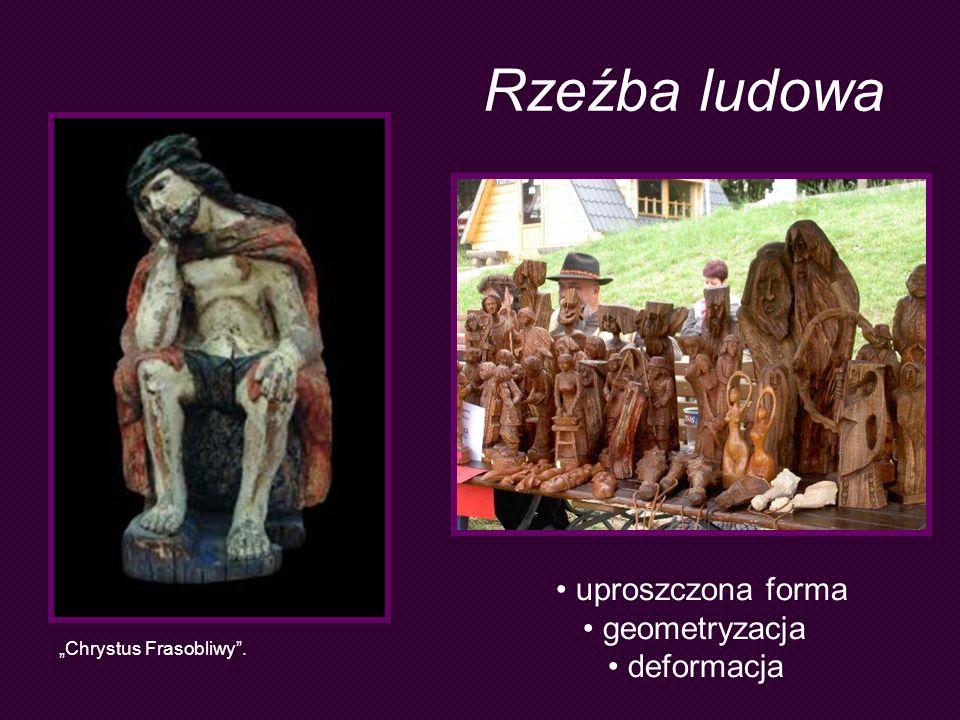 Rzeźba ludowa uproszczona forma geometryzacja deformacja Chrystus Frasobliwy.