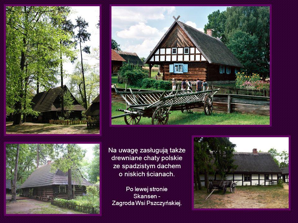 Na uwagę zasługują także drewniane chaty polskie ze spadzistym dachem o niskich ścianach. Po lewej stronie Skansen - Zagroda Wsi Pszczyńskiej.