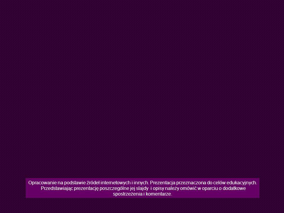 Opracowanie na podstawie źródeł internetowych i innych. Prezentacja przeznaczona do celów edukacyjnych. Przedstawiając prezentację poszczególne jej sl