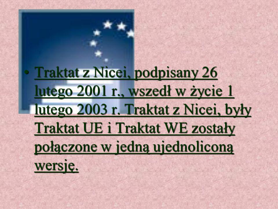 Traktat z Amsterdamu, podpisany 2 października 1997 r., wszedł w życie 1 maja 1999 r. Wprowadził zmiany do traktatów WE i UE,Traktat z Amsterdamu, pod