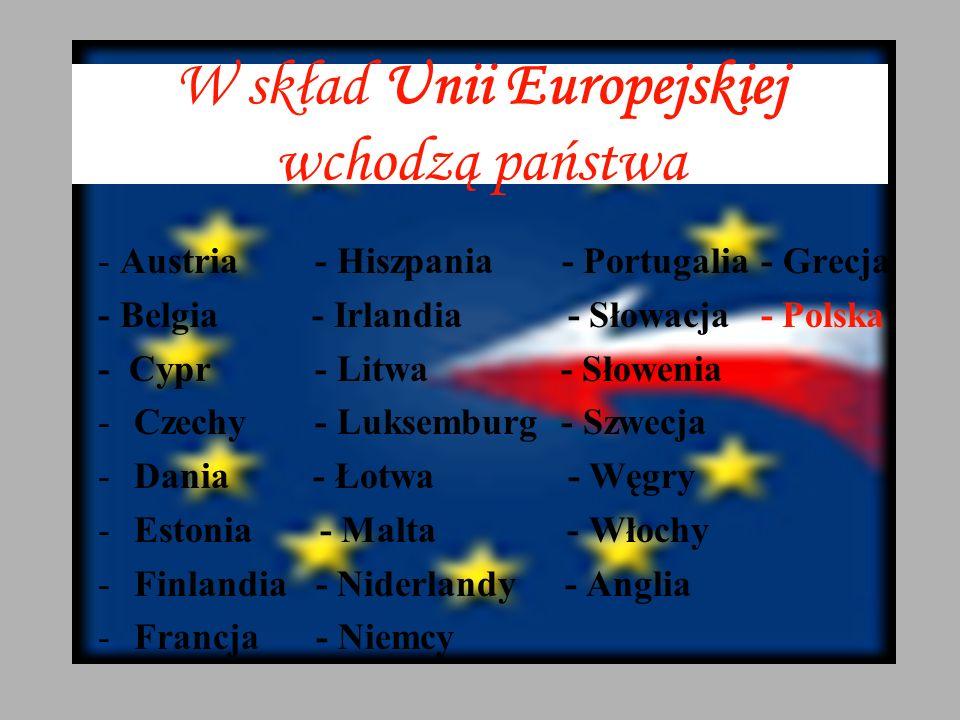 W skład Unii Europejskiej wchodzą państwa - Austria - Hiszpania - Portugalia - Grecja - Belgia - Irlandia - Słowacja - Polska - Cypr - Litwa - Słowenia -Czechy - Luksemburg - Szwecja -Dania - Łotwa - Węgry -Estonia - Malta - Włochy -Finlandia - Niderlandy - Anglia -Francja - Niemcy