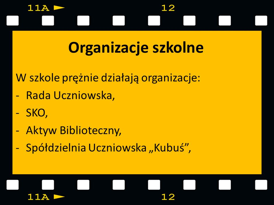 Organizacje szkolne W szkole prężnie działają organizacje: -Rada Uczniowska, -SKO, -Aktyw Biblioteczny, -Spółdzielnia Uczniowska Kubuś,