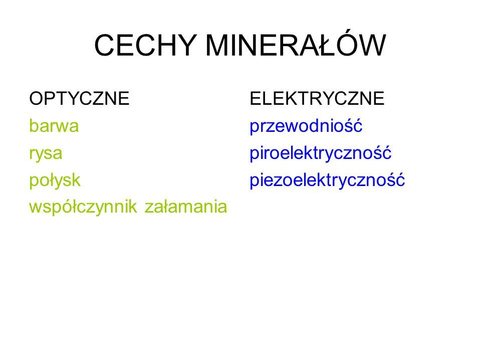 CECHY MINERAŁÓW OPTYCZNE barwa rysa połysk współczynnik załamania ELEKTRYCZNE przewodniość piroelektryczność piezoelektryczność