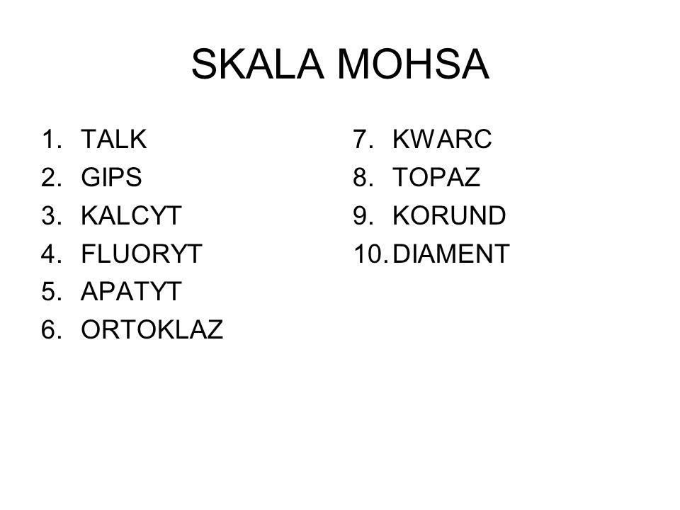 SKALA MOHSA 1.TALK 2.GIPS 3.KALCYT 4.FLUORYT 5.APATYT 6.ORTOKLAZ 7.KWARC 8.TOPAZ 9.KORUND 10.DIAMENT