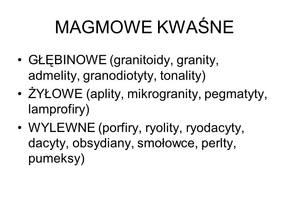MAGMOWE KWAŚNE GŁĘBINOWE (granitoidy, granity, admelity, granodiotyty, tonality) ŻYŁOWE (aplity, mikrogranity, pegmatyty, lamprofiry) WYLEWNE (porfiry