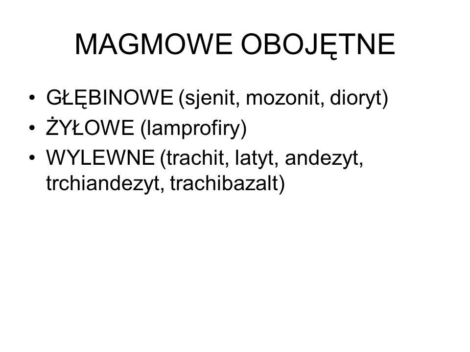 MAGMOWE OBOJĘTNE GŁĘBINOWE (sjenit, mozonit, dioryt) ŻYŁOWE (lamprofiry) WYLEWNE (trachit, latyt, andezyt, trchiandezyt, trachibazalt)