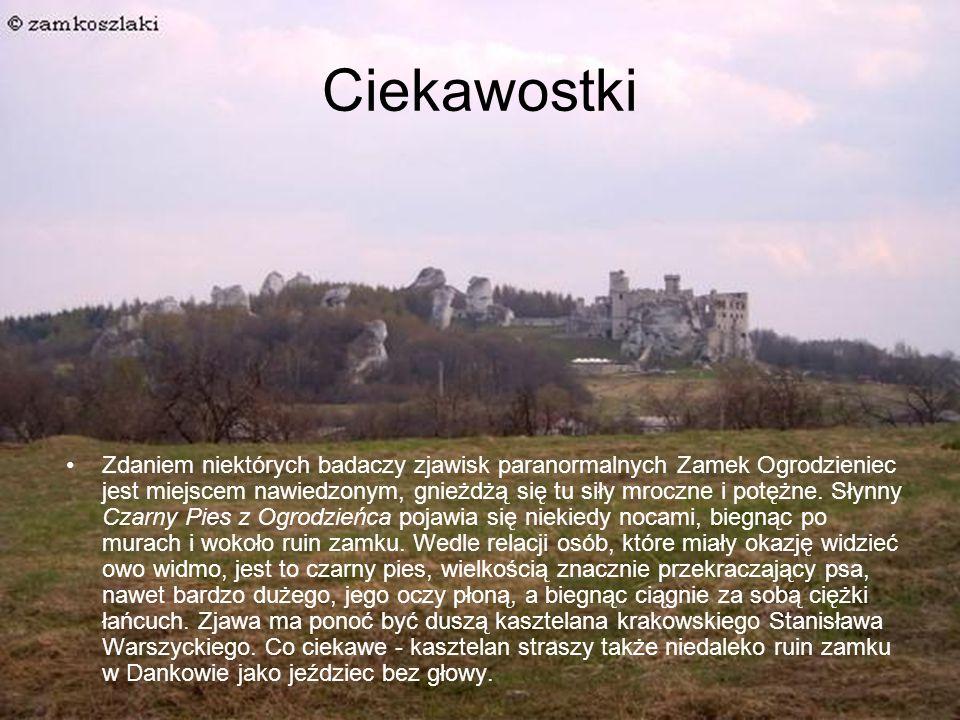 Ciekawostki Zdaniem niektórych badaczy zjawisk paranormalnych Zamek Ogrodzieniec jest miejscem nawiedzonym, gnieżdżą się tu siły mroczne i potężne.