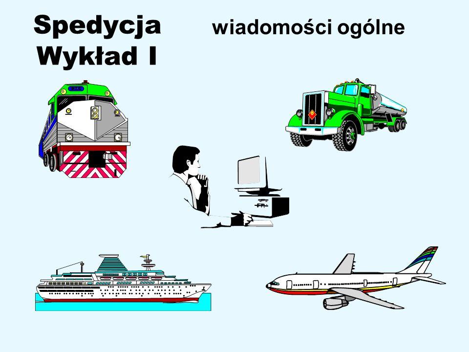 22 Klasyfikacja spedycji wg gałęzi Drogowa, Kolejowa, Portowo – morska, Lotnicza