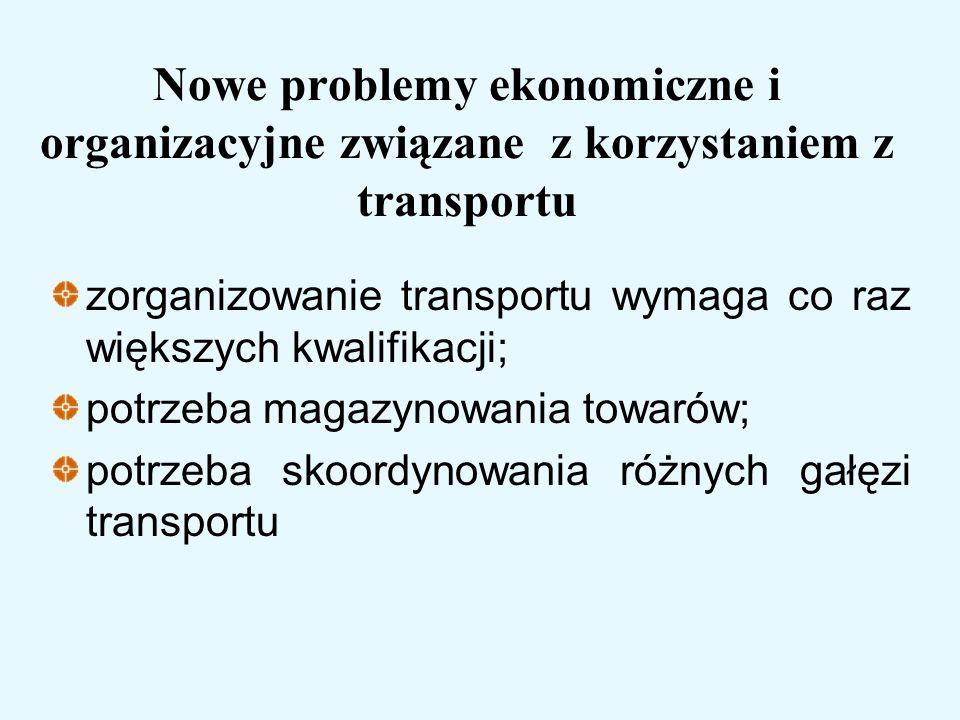 Nowe problemy ekonomiczne i organizacyjne związane z korzystaniem z transportu zorganizowanie transportu wymaga co raz większych kwalifikacji; potrzeb