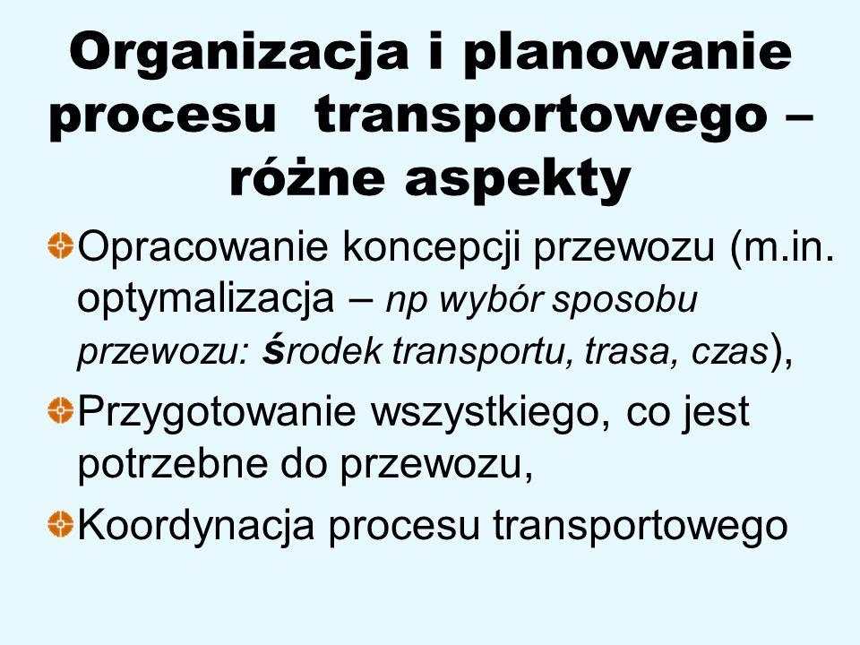 Organizacja i planowanie procesu transportowego – różne aspekty Opracowanie koncepcji przewozu (m.in. optymalizacja – np wybór sposobu przewozu: ś rod