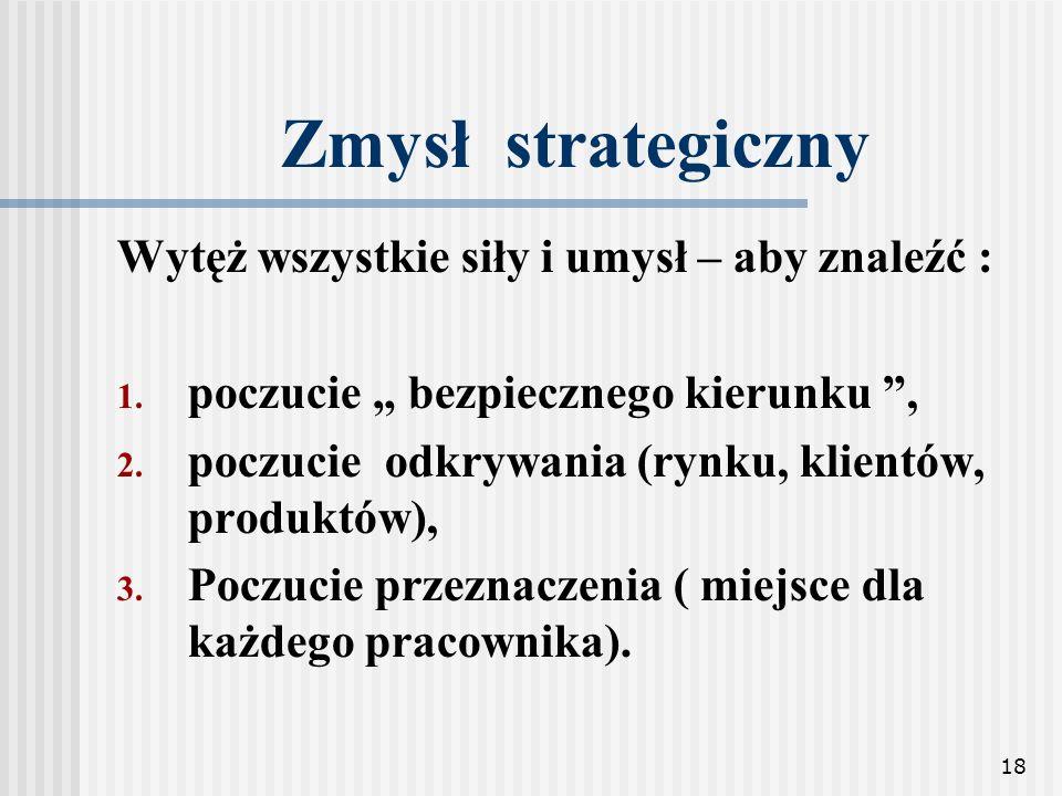 18 Zmysł strategiczny Wytęż wszystkie siły i umysł – aby znaleźć : 1. poczucie bezpiecznego kierunku, 2. poczucie odkrywania (rynku, klientów, produkt