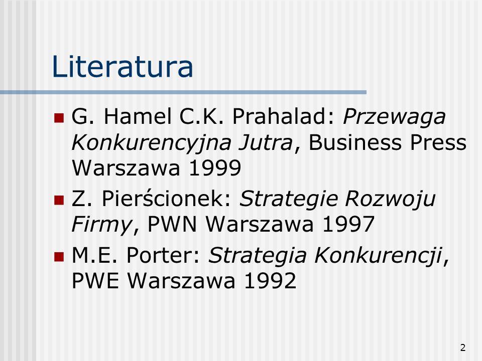 2 Literatura G. Hamel C.K. Prahalad: Przewaga Konkurencyjna Jutra, Business Press Warszawa 1999 Z. Pierścionek: Strategie Rozwoju Firmy, PWN Warszawa