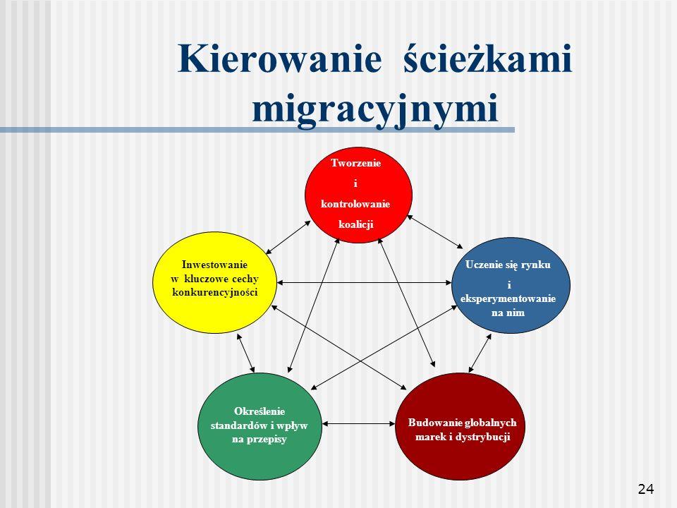 24 Kierowanie ścieżkami migracyjnymi Tworzenie i kontrolowanie koalicji Uczenie się rynku i eksperymentowanie na nim Inwestowanie w kluczowe cechy kon