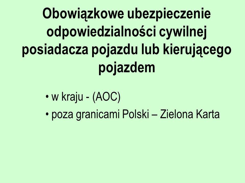 Obowiązkowe ubezpieczenie odpowiedzialności cywilnej posiadacza pojazdu lub kierującego pojazdem w kraju - (AOC) poza granicami Polski – Zielona Karta