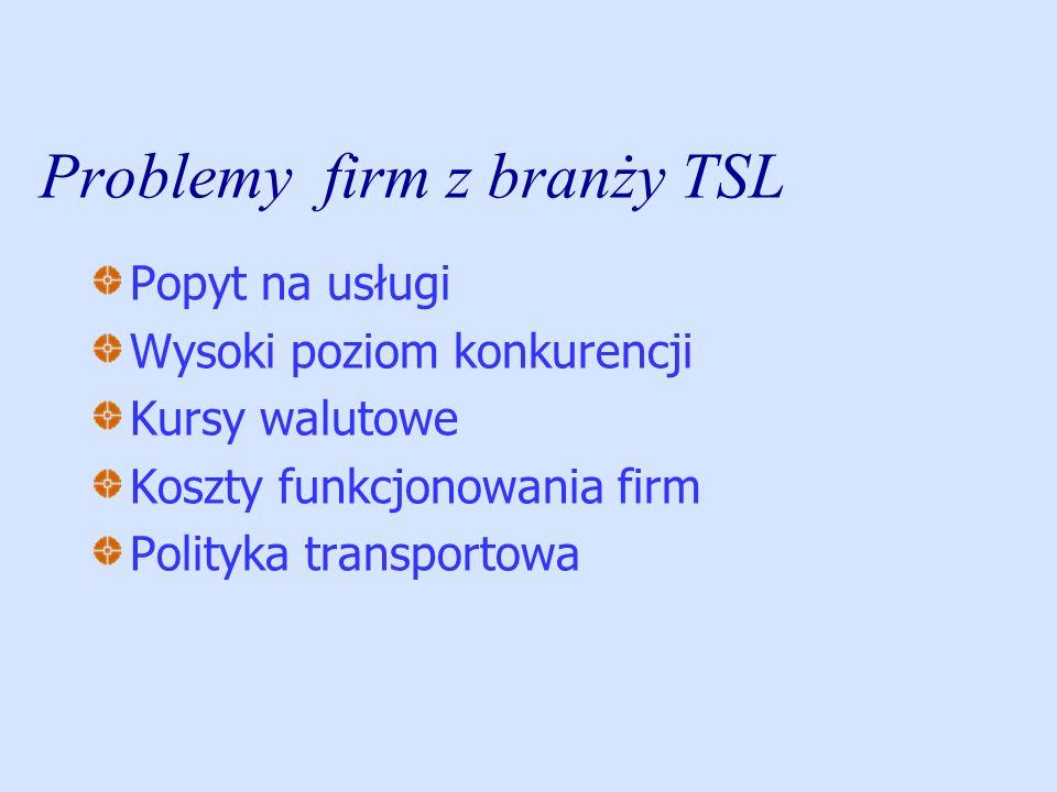 Problemy firm z branży TSL Popyt na usługi Wysoki poziom konkurencji Kursy walutowe Koszty funkcjonowania firm Polityka transportowa