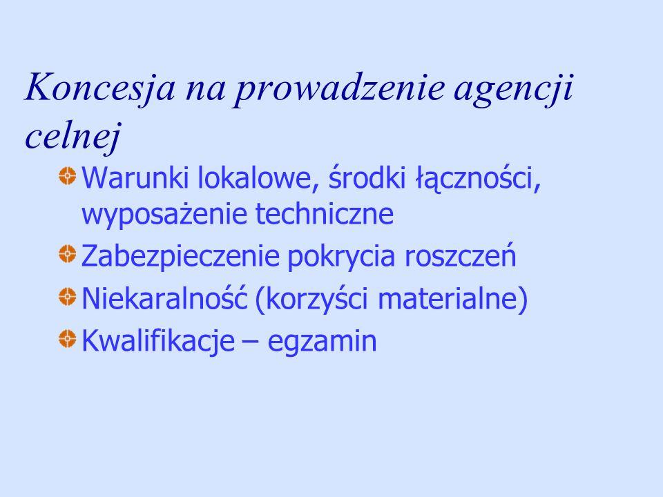 Koncesja na prowadzenie agencji celnej Warunki lokalowe, środki łączności, wyposażenie techniczne Zabezpieczenie pokrycia roszczeń Niekaralność (korzy
