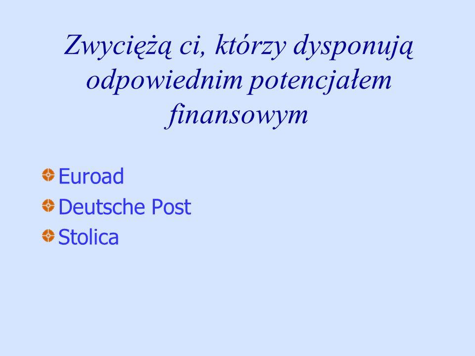 Zwyciężą ci, którzy dysponują odpowiednim potencjałem finansowym Euroad Deutsche Post Stolica